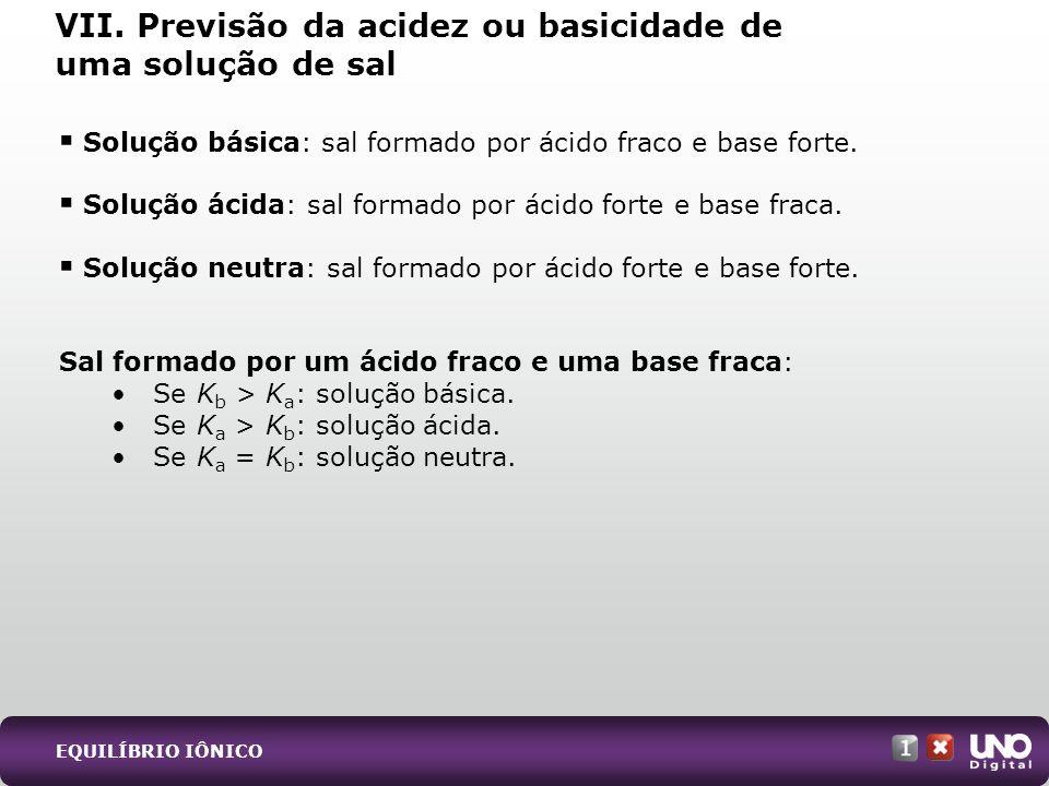 Solução básica: sal formado por ácido fraco e base forte. Solução ácida: sal formado por ácido forte e base fraca. Solução neutra: sal formado por áci