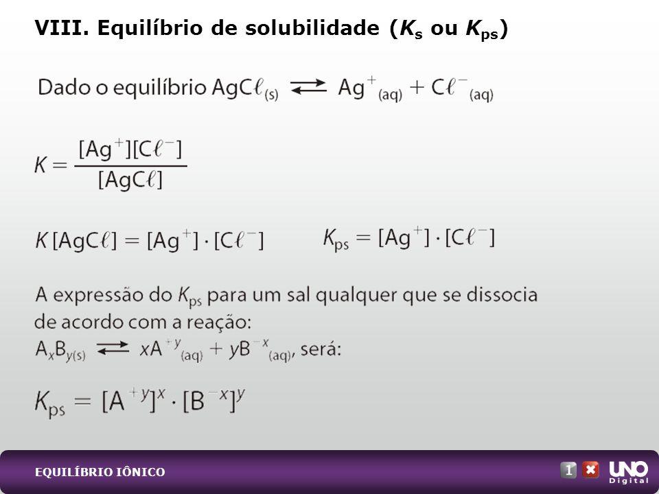 VIII. Equilíbrio de solubilidade (K s ou K ps )