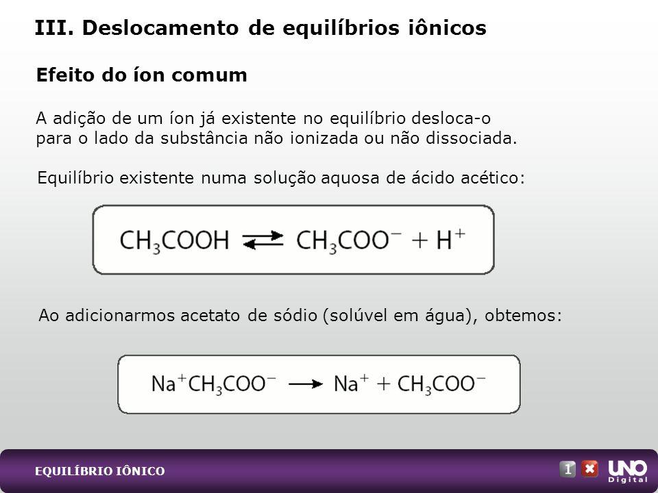 Efeito do íon comum A adição de um íon já existente no equilíbrio desloca-o para o lado da substância não ionizada ou não dissociada.