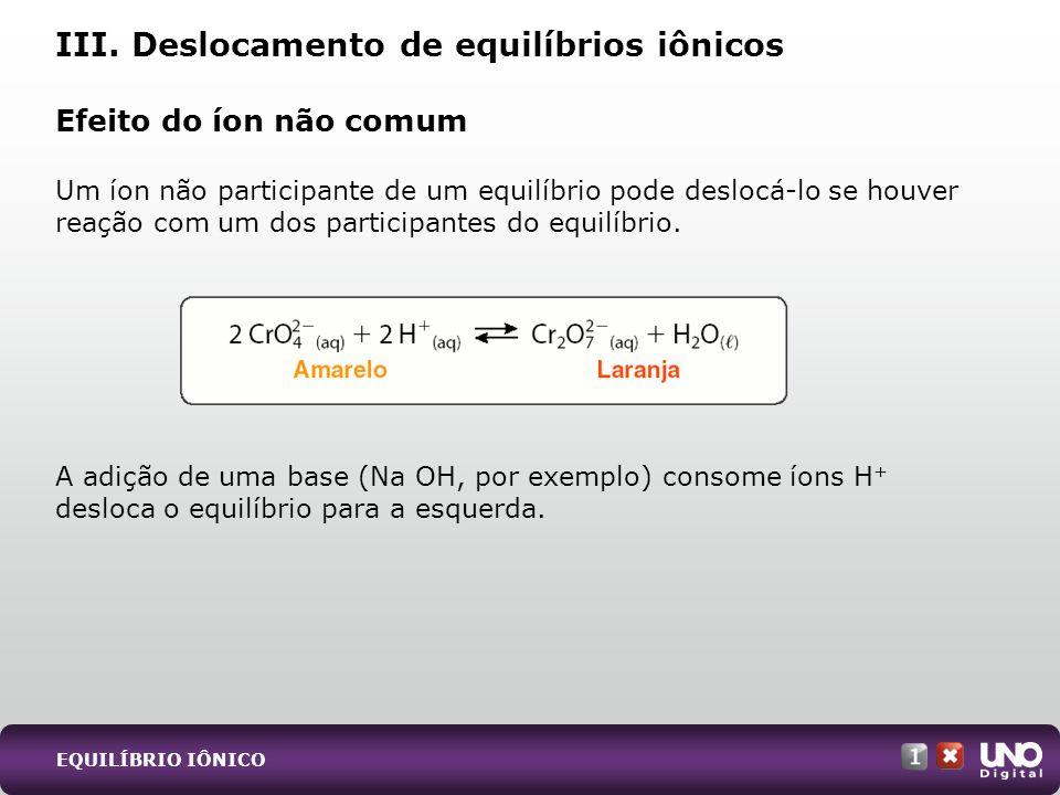 Efeito do íon não comum Um íon não participante de um equilíbrio pode deslocá-lo se houver reação com um dos participantes do equilíbrio. A adição de