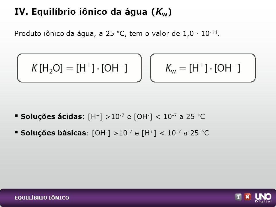 Produto iônico da água, a 25 °C, tem o valor de 1,0 10 -14. Soluções ácidas: [H + ] >10 -7 e [OH - ] < 10 -7 a 25 °C Soluções básicas: [OH - ] >10 -7