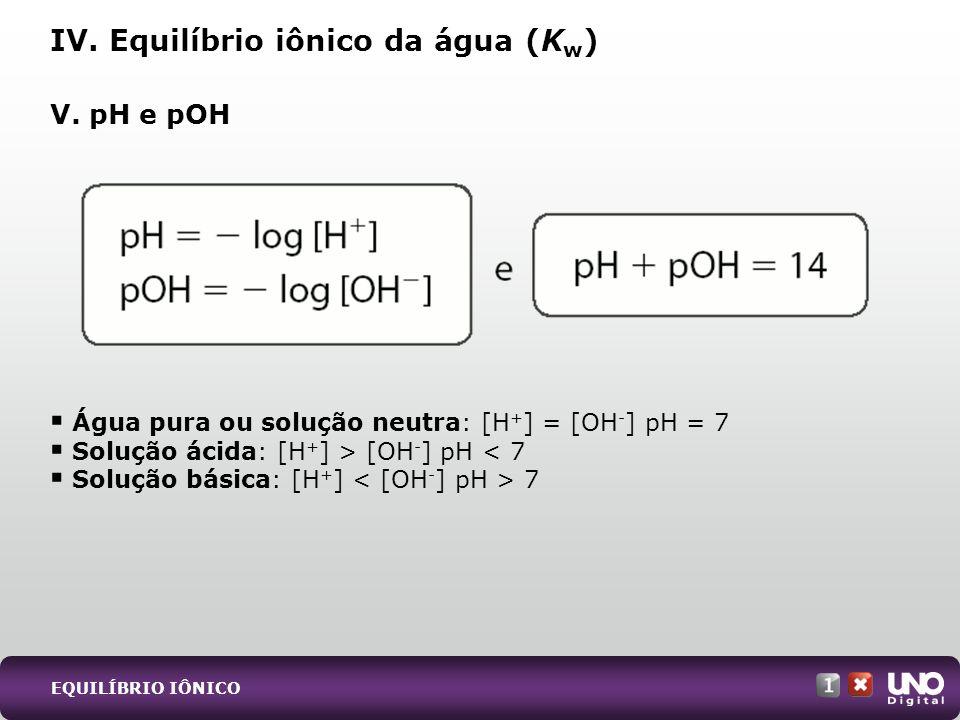 Água pura ou solução neutra: [H + ] = [OH - ] pH = 7 Solução ácida: [H + ] > [OH - ] pH < 7 Solução básica: [H + ] 7 V. pH e pOH IV. Equilíbrio iônico