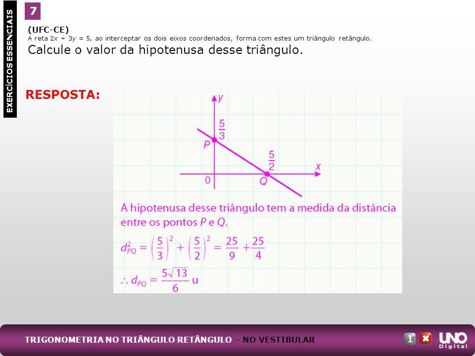 (UFC-CE) A reta 2x + 3y = 5, ao interceptar os dois eixos coordenados, forma com estes um triângulo retângulo. Calcule o valor da hipotenusa desse tri