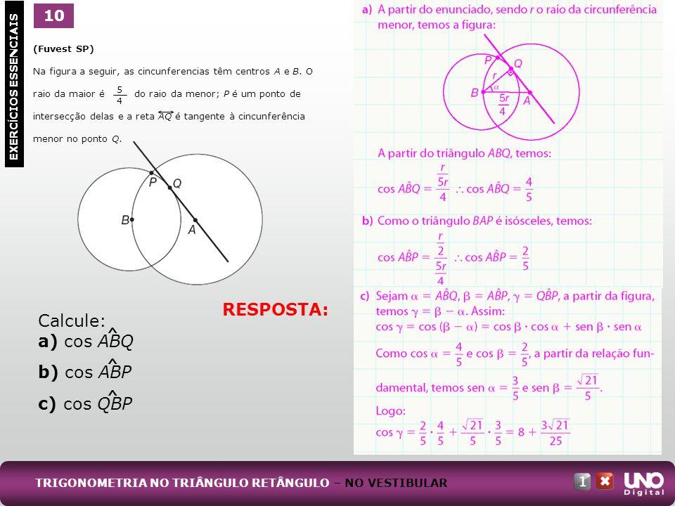 1 EXERC Í CIOS ESSENCIAIS 10 RESPOSTA: Calcule: a) cos ABQ b) cos ABP c) cos QBP TRIGONOMETRIA NO TRIÂNGULO RETÂNGULO – NO VESTIBULAR (Fuvest SP) Na f