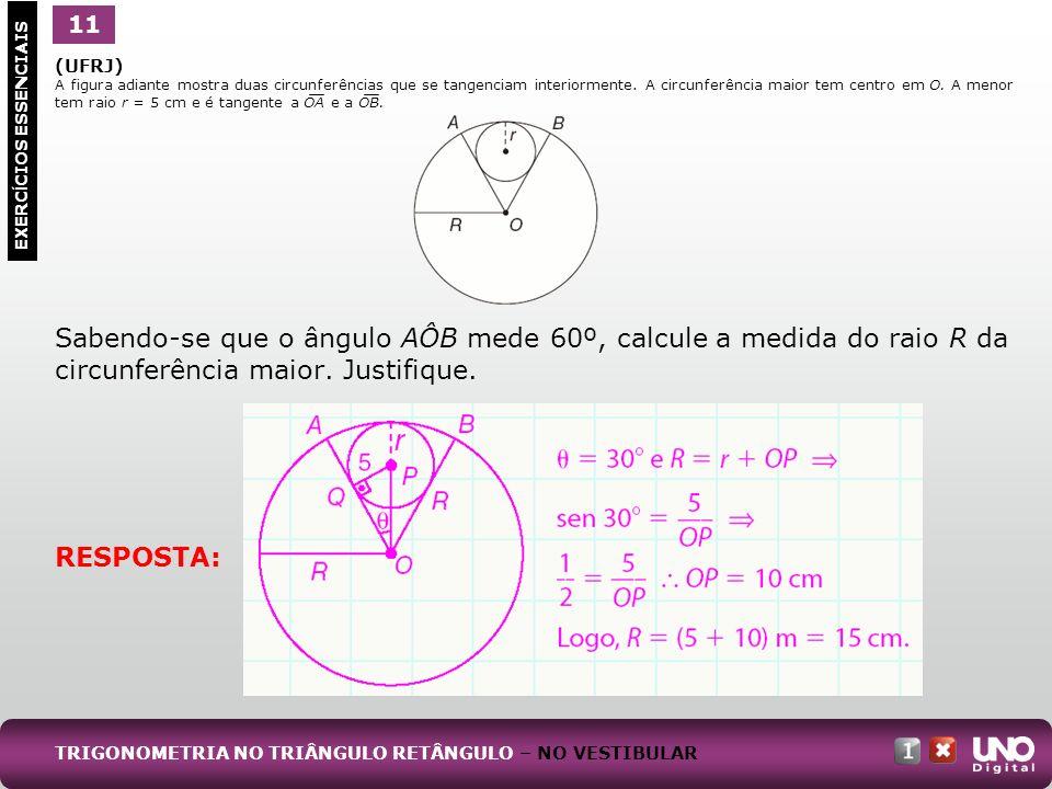 (UFRJ) A figura adiante mostra duas circunferências que se tangenciam interiormente. A circunferência maior tem centro em O. A menor tem raio r = 5 cm