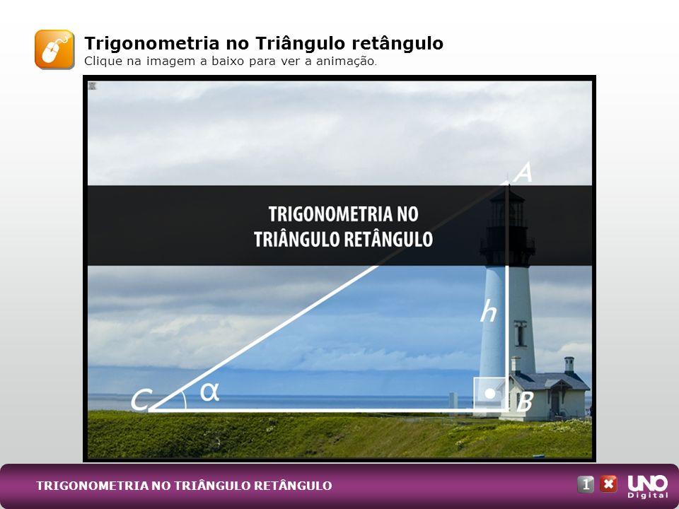 Trigonometria no Triângulo retângulo Clique na imagem a baixo para ver a animação. TRIGONOMETRIA NO TRIÂNGULO RETÂNGULO