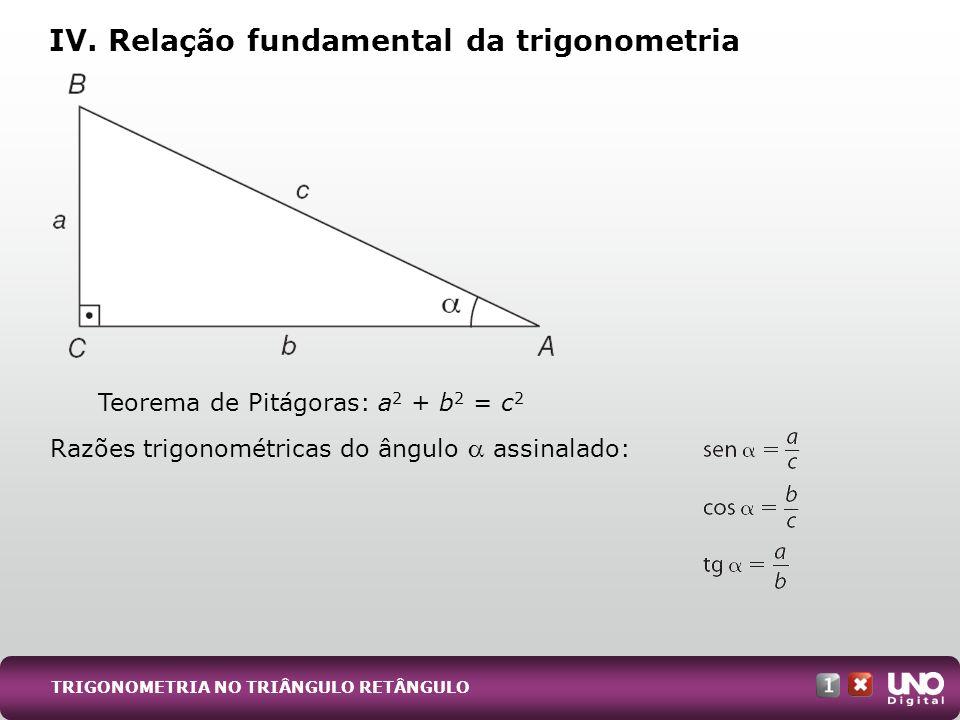 IV. Relação fundamental da trigonometria TRIGONOMETRIA NO TRIÂNGULO RETÂNGULO Teorema de Pitágoras: a 2 + b 2 = c 2 Razões trigonométricas do ângulo a