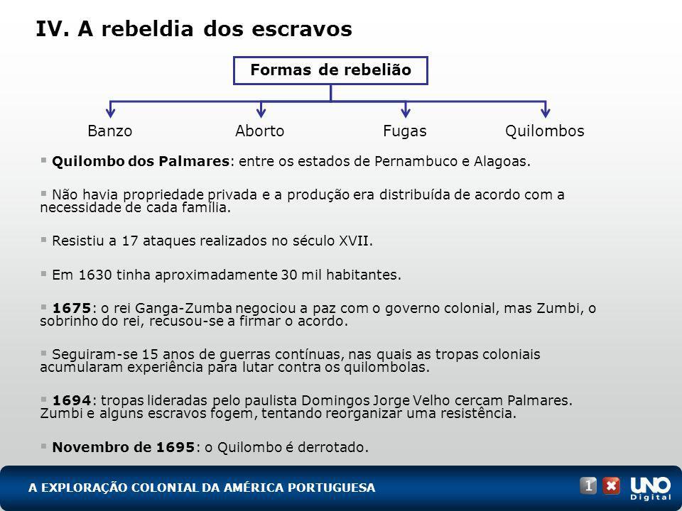 IV. A rebeldia dos escravos Quilombo dos Palmares: entre os estados de Pernambuco e Alagoas. Não havia propriedade privada e a produção era distribuíd