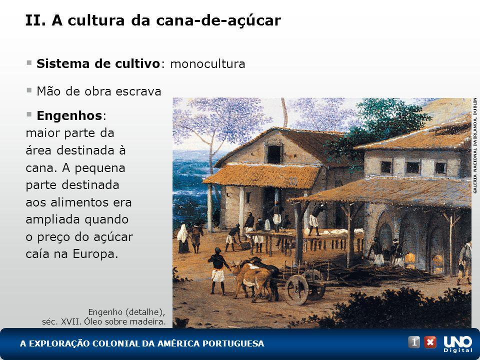 II. A cultura da cana-de-açúcar A EXPLORAÇÃO COLONIAL DA AMÉRICA PORTUGUESA Sistema de cultivo: monocultura Mão de obra escrava Engenhos: maior parte