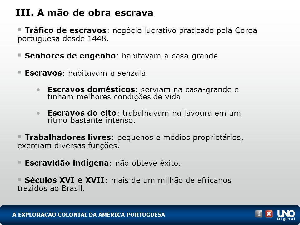 III. A mão de obra escrava Tráfico de escravos: negócio lucrativo praticado pela Coroa portuguesa desde 1448. Senhores de engenho: habitavam a casa-gr