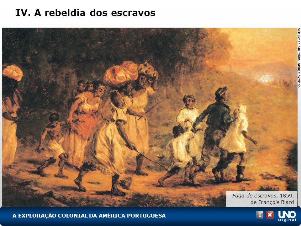 IV. A rebeldia dos escravos A EXPLORAÇÃO COLONIAL DA AMÉRICA PORTUGUESA Fuga de escravos, 1859, de François Biard COLEÇÃO SÉRGIO FADEL, RIO DE JANEIRO
