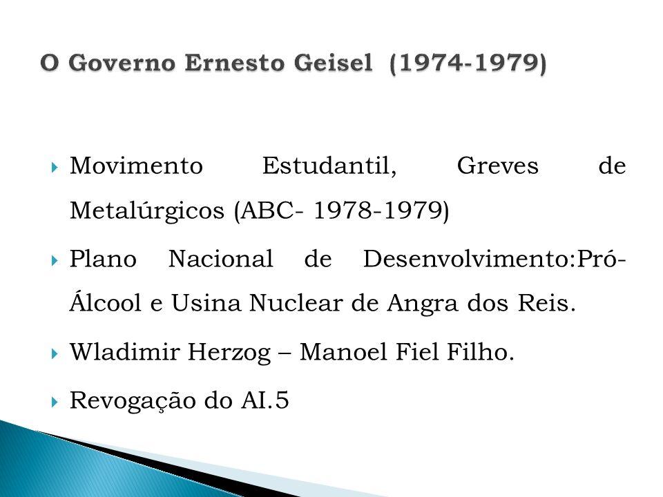 Movimento Estudantil, Greves de Metalúrgicos (ABC- 1978-1979) Plano Nacional de Desenvolvimento:Pró- Álcool e Usina Nuclear de Angra dos Reis. Wladimi