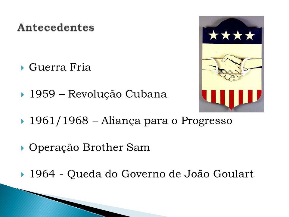 Guerra Fria 1959 – Revolução Cubana 1961/1968 – Aliança para o Progresso Operação Brother Sam 1964 - Queda do Governo de João Goulart