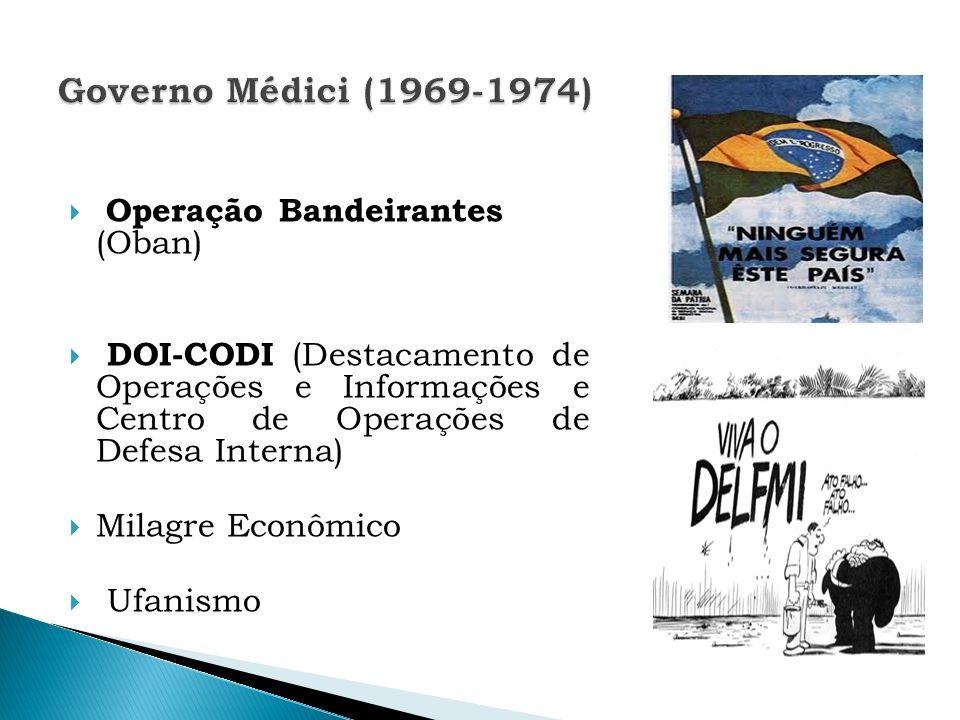 Operação Bandeirantes (Oban) DOI-CODI (Destacamento de Operações e Informações e Centro de Operações de Defesa Interna) Milagre Econômico Ufanismo