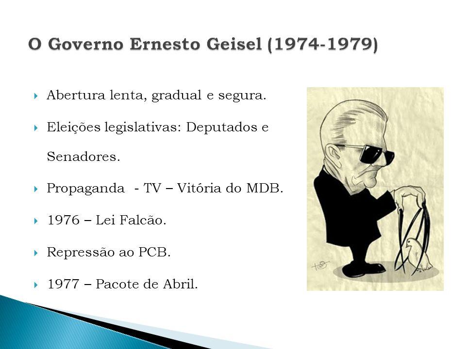 Abertura lenta, gradual e segura. Eleições legislativas: Deputados e Senadores. Propaganda - TV – Vitória do MDB. 1976 – Lei Falcão. Repressão ao PCB.