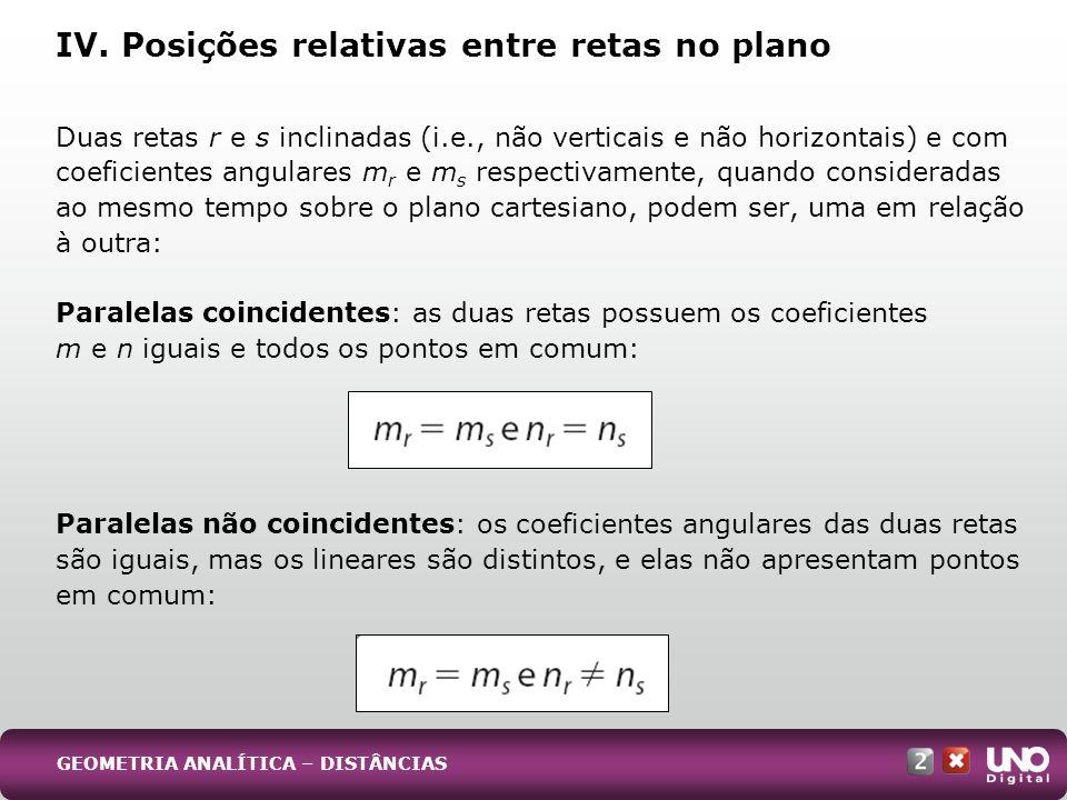 Duas retas r e s inclinadas (i.e., não verticais e não horizontais) e com coeficientes angulares m r e m s respectivamente, quando consideradas ao mesmo tempo sobre o plano cartesiano, podem ser, uma em relação à outra: Paralelas coincidentes: as duas retas possuem os coeficientes m e n iguais e todos os pontos em comum: Paralelas não coincidentes: os coeficientes angulares das duas retas são iguais, mas os lineares são distintos, e elas não apresentam pontos em comum: IV.