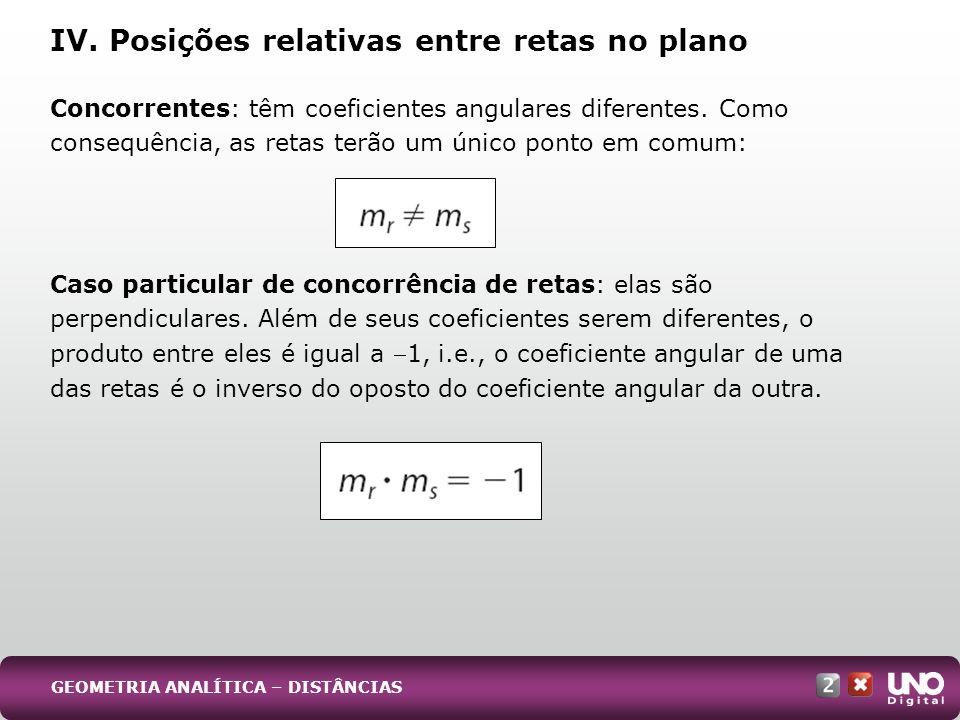 Caso particular de concorrência de retas: elas são perpendiculares. Além de seus coeficientes serem diferentes, o produto entre eles é igual a 1, i.e.