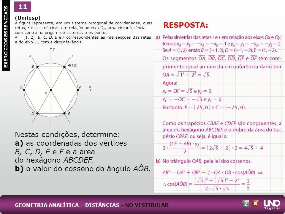 RESPOSTA: (Unifesp) A figura representa, em um sistema ortogonal de coordenadas, duas retas, r e s, simétricas em relação ao eixo O y, uma circunferência com centro na origem do sistema, e os pontos A = (1, 2), B, C, D, E e F correspondentes às intersecções das retas e do eixo O x com a circunferência.
