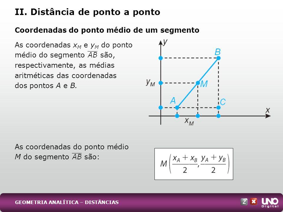 As coordenadas x M e y M do ponto médio do segmento são, respectivamente, as médias aritméticas das coordenadas dos pontos A e B. As coordenadas do po