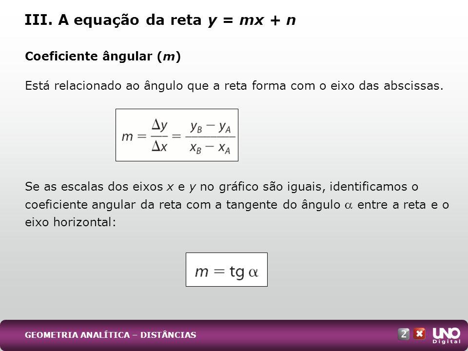 Coeficiente ângular (m) Está relacionado ao ângulo que a reta forma com o eixo das abscissas. Se as escalas dos eixos x e y no gráfico são iguais, ide