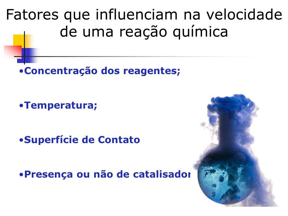 Fatores que influenciam na velocidade de uma reação química Concentração dos reagentes; Temperatura; Superfície de Contato Presença ou não de catalisa
