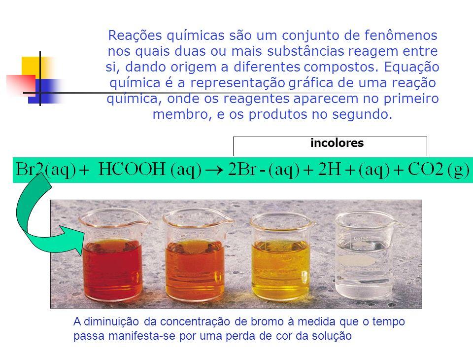 Reações químicas são um conjunto de fenômenos nos quais duas ou mais substâncias reagem entre si, dando origem a diferentes compostos. Equação química