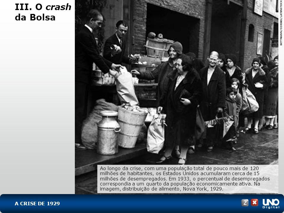 III. O crash da Bolsa BETTMANN/CORBIS/LATINSTOCK Ao longo da crise, com uma população total de pouco mais de 120 milhões de habitantes, os Estados Uni