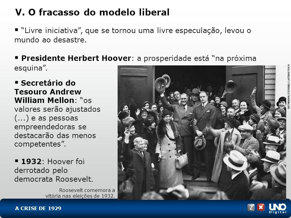 V. O fracasso do modelo liberal Livre iniciativa, que se tornou uma livre especulação, levou o mundo ao desastre. Presidente Herbert Hoover: a prosper