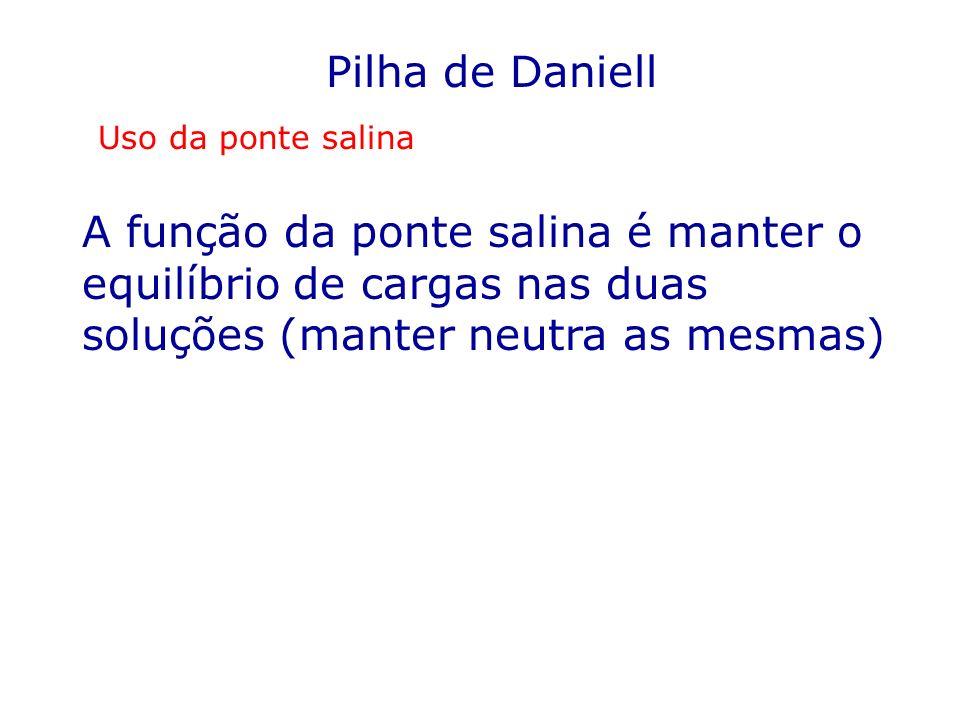 Pilha de Daniell Uso da ponte salina A função da ponte salina é manter o equilíbrio de cargas nas duas soluções (manter neutra as mesmas)
