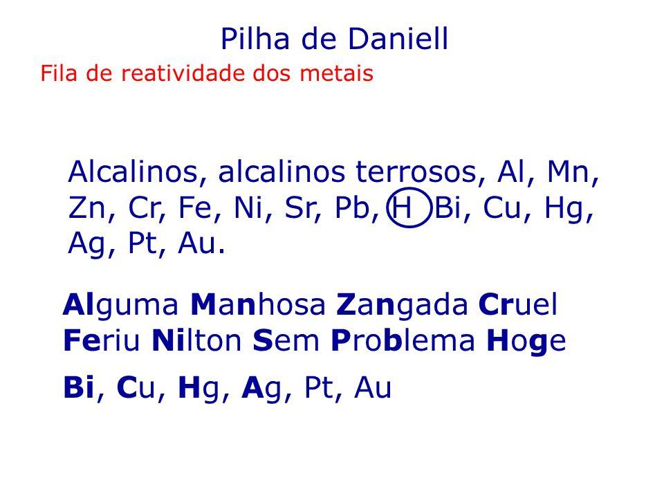 Pilha de Daniell Fila de reatividade dos metais Alcalinos, alcalinos terrosos, Al, Mn, Zn, Cr, Fe, Ni, Sr, Pb, H Bi, Cu, Hg, Ag, Pt, Au. Alguma Manhos