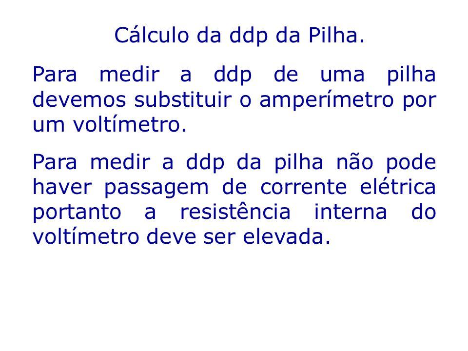 Cálculo da ddp da Pilha. Para medir a ddp de uma pilha devemos substituir o amperímetro por um voltímetro. Para medir a ddp da pilha não pode haver pa