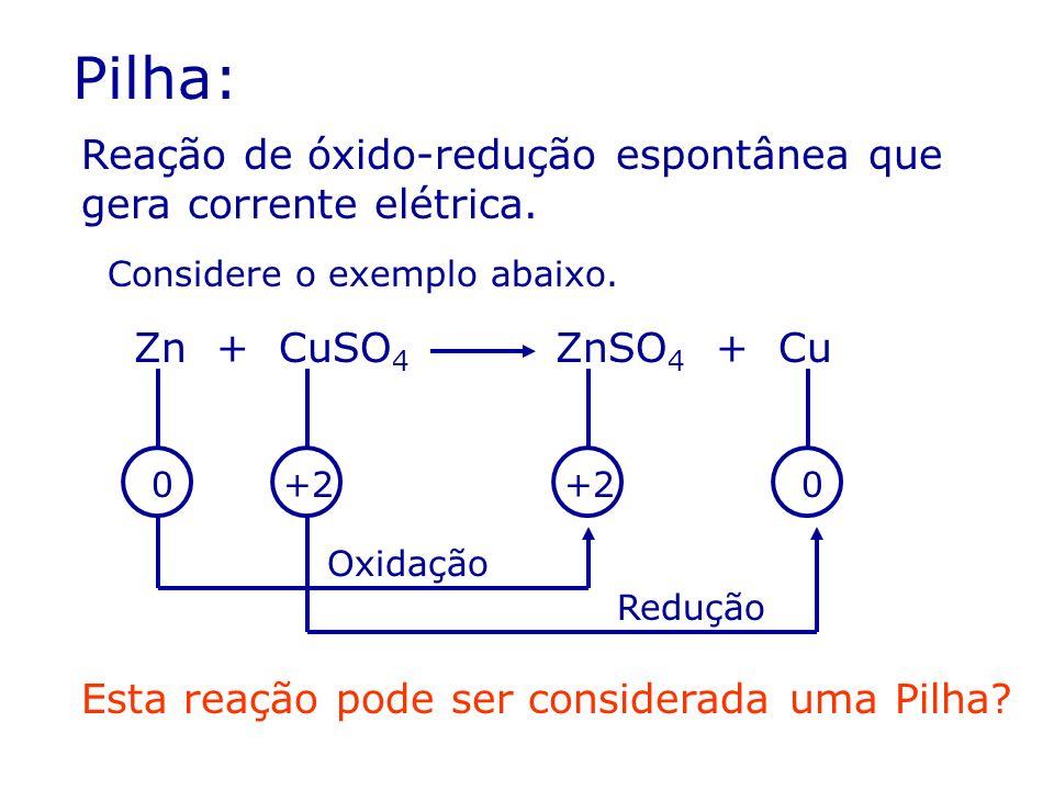 Pilha: Reação de óxido-redução espontânea que gera corrente elétrica. Considere o exemplo abaixo. Zn + CuSO 4 ZnSO 4 + Cu Oxidação Redução 0+2 0 Esta