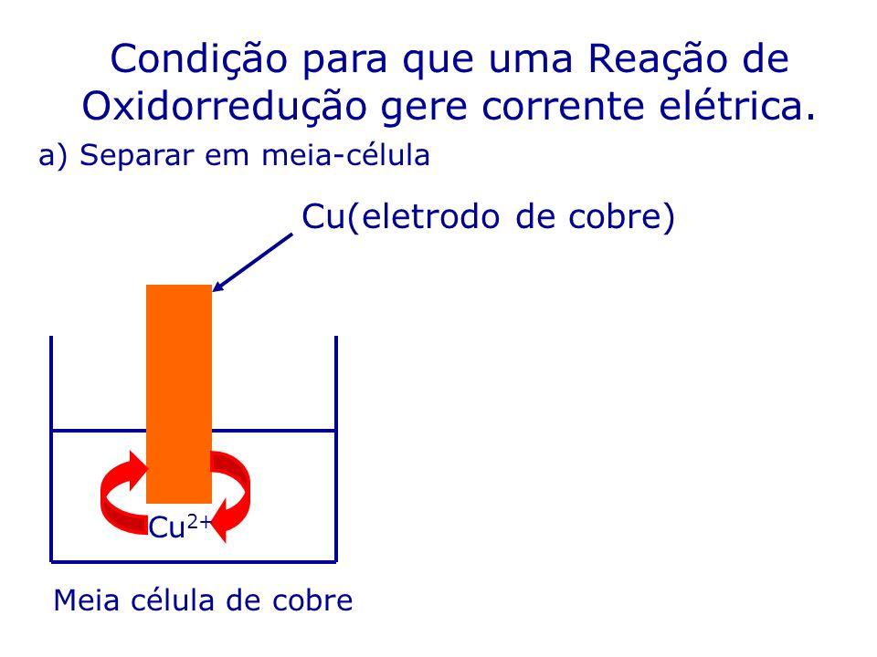 Condição para que uma Reação de Oxidorredução gere corrente elétrica. Cu 2+ Cu(eletrodo de cobre) a) Separar em meia-célula Meia célula de cobre