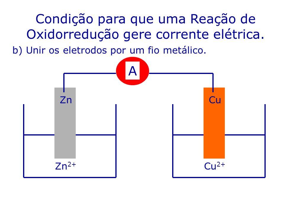 Condição para que uma Reação de Oxidorredução gere corrente elétrica. b) Unir os eletrodos por um fio metálico. Zn 2+ Cu 2+ A CuZn