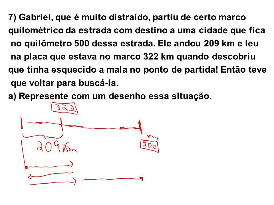 7) Gabriel, que é muito distraído, partiu de certo marco quilométrico da estrada com destino a uma cidade que fica no quilômetro 500 dessa estrada. El
