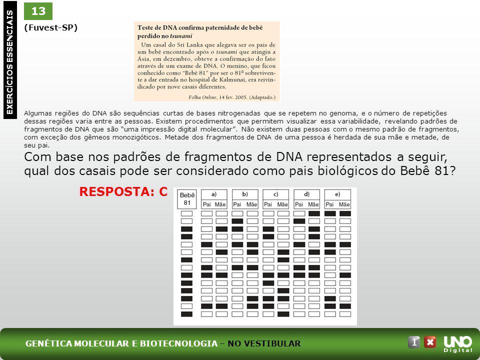 (Fuvest-SP) Algumas regiões do DNA são sequências curtas de bases nitrogenadas que se repetem no genoma, e o número de repetições dessas regiões varia