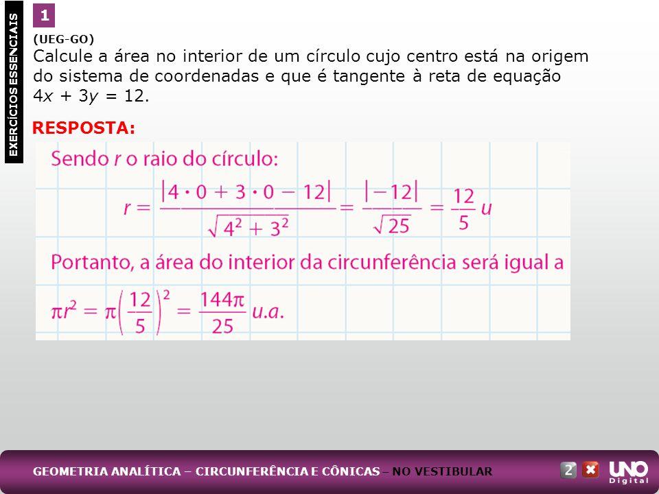 (UEG-GO) Calcule a área no interior de um círculo cujo centro está na origem do sistema de coordenadas e que é tangente à reta de equação 4x + 3y = 12