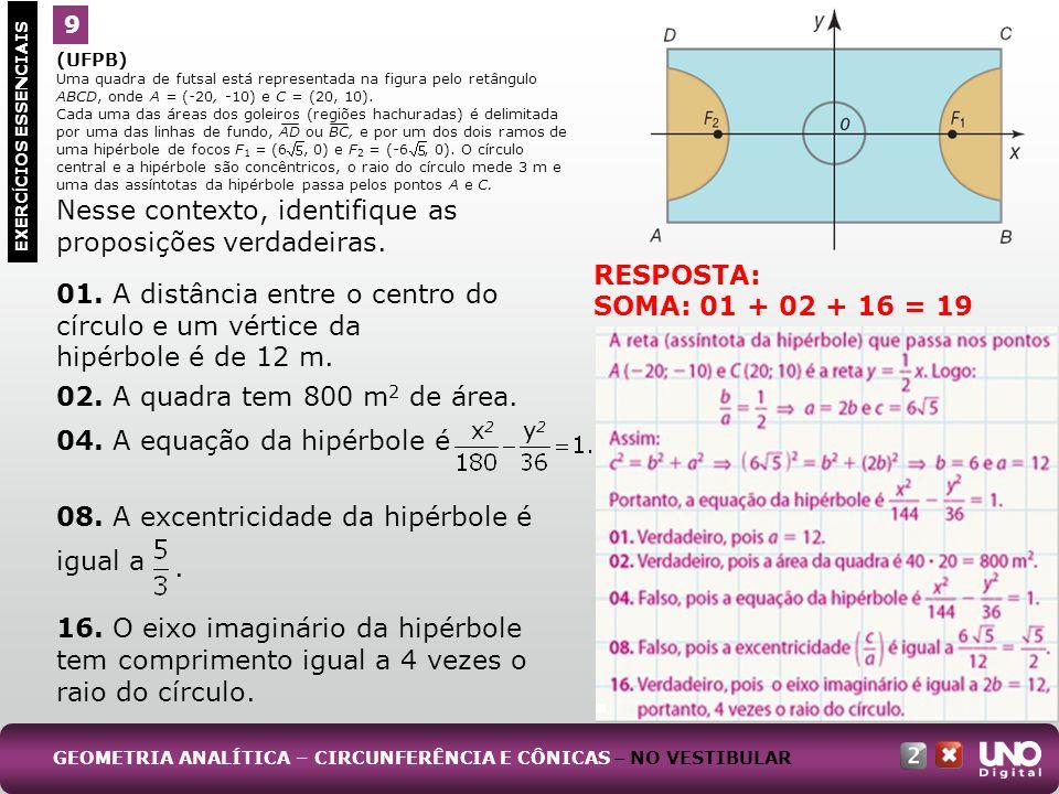 (UFPB) Uma quadra de futsal está representada na figura pelo retângulo ABCD, onde A = (-20, -10) e C = (20, 10). Cada uma das áreas dos goleiros (regi