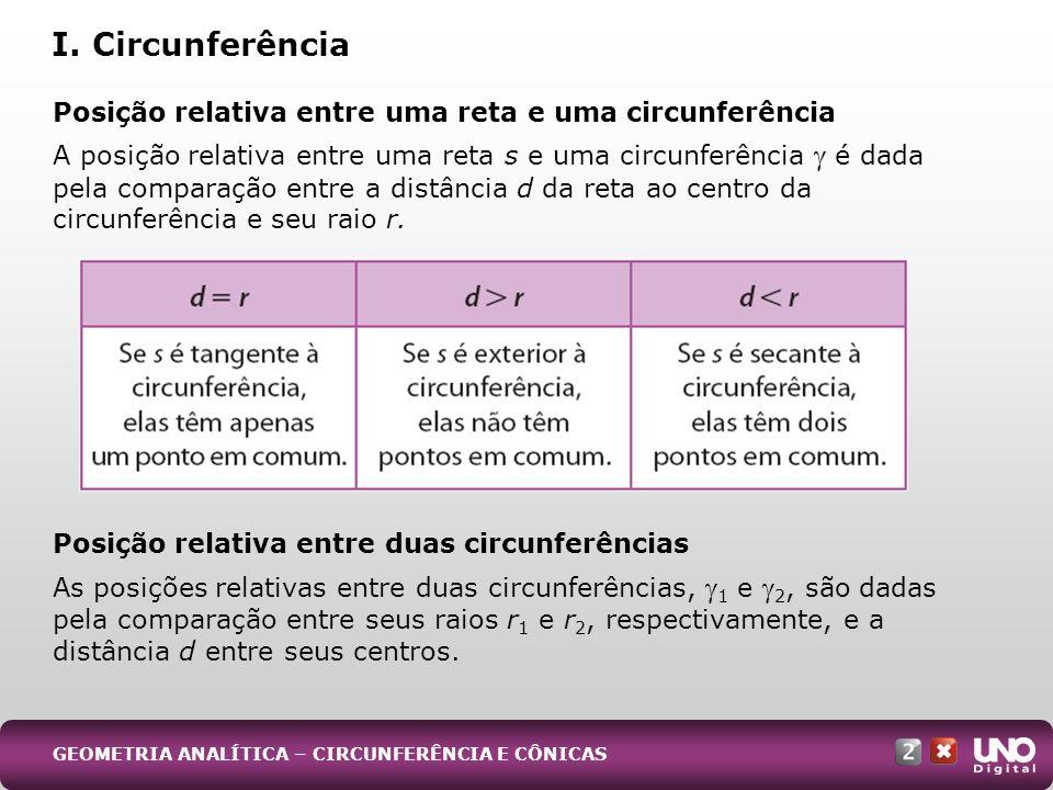 Posição relativa entre uma reta e uma circunferência A posição relativa entre uma reta s e uma circunferência é dada pela comparação entre a distância
