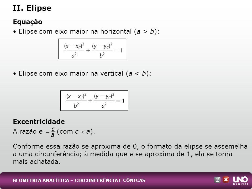 Equação Elipse com eixo maior na horizontal (a > b): Elipse com eixo maior na vertical (a < b): Excentricidade A razão e = (com c a). Conforme essa ra