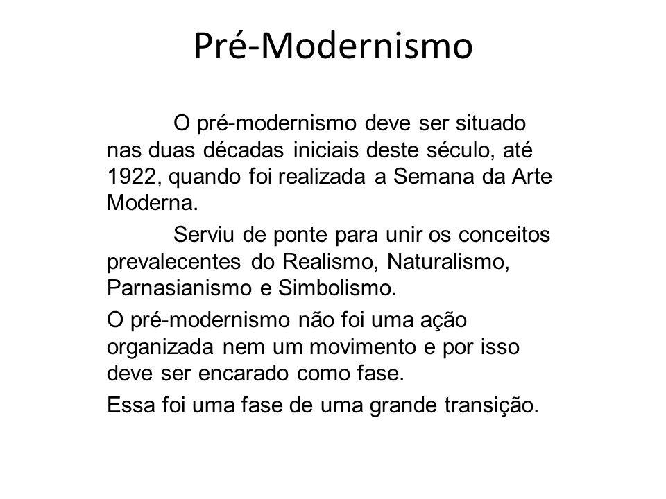Pré-Modernismo O pré-modernismo deve ser situado nas duas décadas iniciais deste século, até 1922, quando foi realizada a Semana da Arte Moderna. Serv