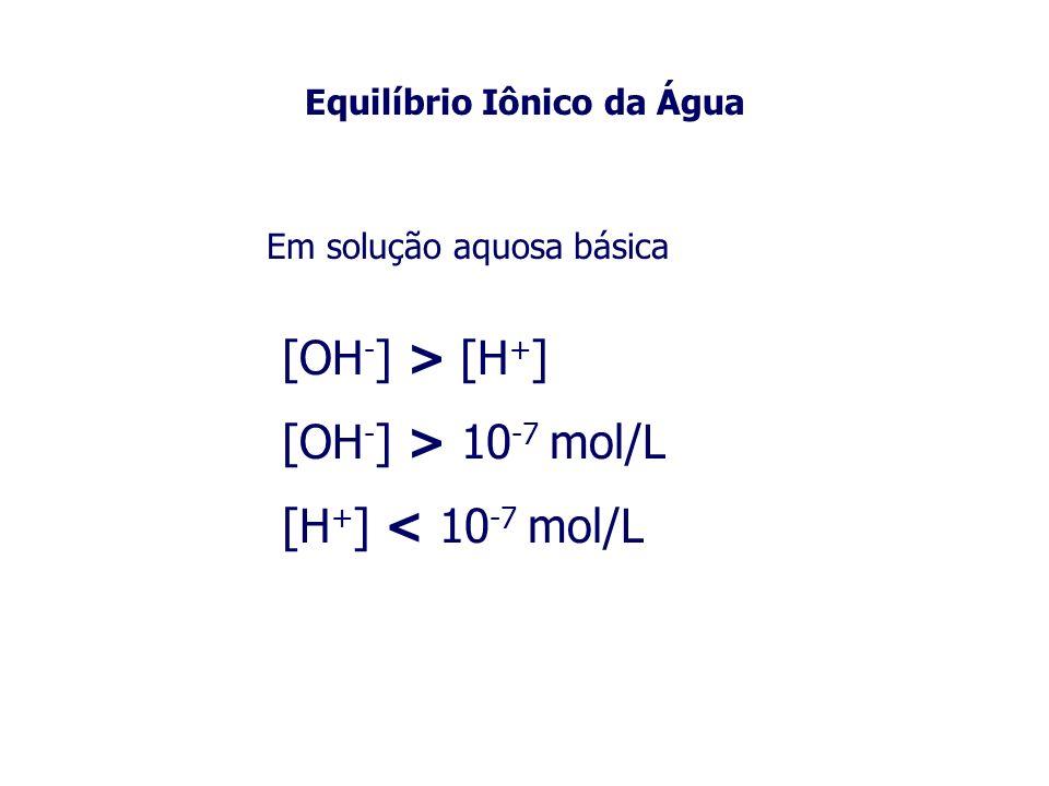 Equilíbrio Iônico da Água Em solução aquosa básica [OH - ] > [H + ] [OH - ] > 10 -7 mol/L [H + ] < 10 -7 mol/L