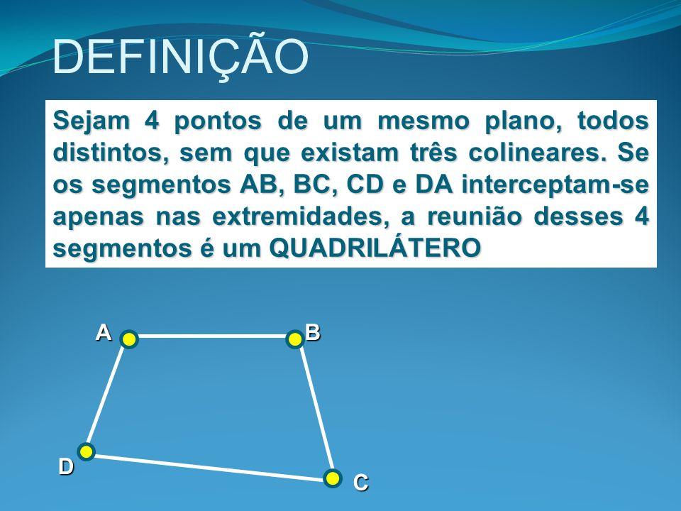 DEFINIÇÃO Sejam 4 pontos de um mesmo plano, todos distintos, sem que existam três colineares. Se os segmentos AB, BC, CD e DA interceptam-se apenas na