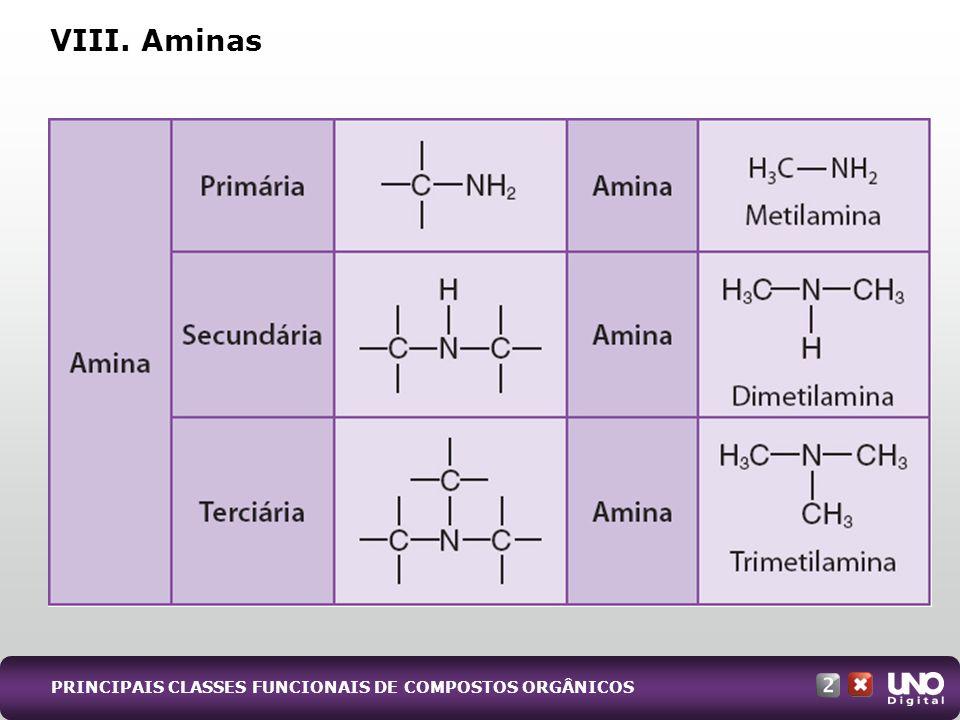 VIII. Aminas PRINCIPAIS CLASSES FUNCIONAIS DE COMPOSTOS ORGÂNICOS