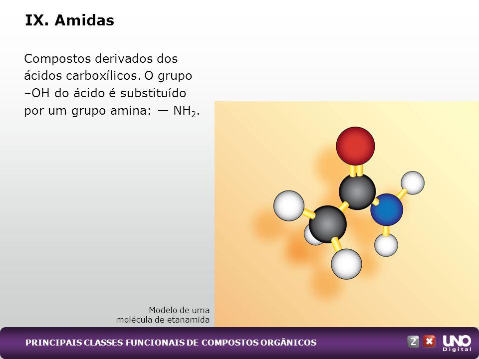IX. Amidas Modelo de uma molécula de etanamida Compostos derivados dos ácidos carboxílicos. O grupo –OH do ácido é substituído por um grupo amina: NH
