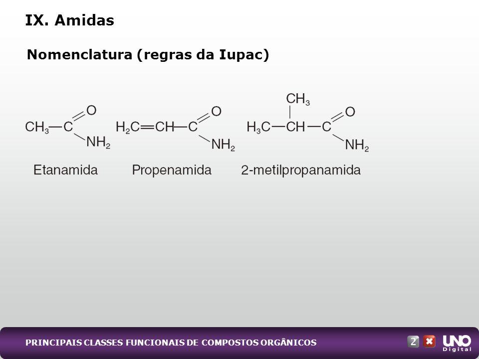 Nomenclatura (regras da Iupac) IX. Amidas PRINCIPAIS CLASSES FUNCIONAIS DE COMPOSTOS ORGÂNICOS