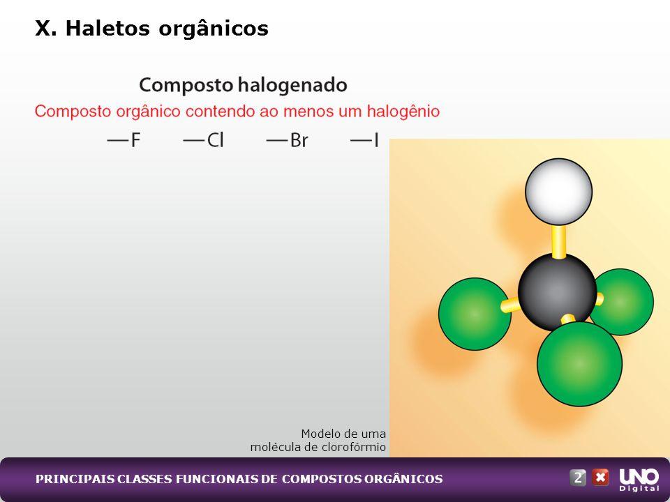 X. Haletos orgânicos Modelo de uma molécula de clorofórmio PRINCIPAIS CLASSES FUNCIONAIS DE COMPOSTOS ORGÂNICOS