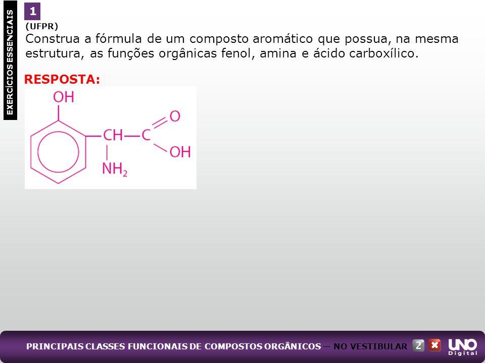 (UFPR) Construa a fórmula de um composto aromático que possua, na mesma estrutura, as funções orgânicas fenol, amina e ácido carboxílico. PRINCIPAIS C