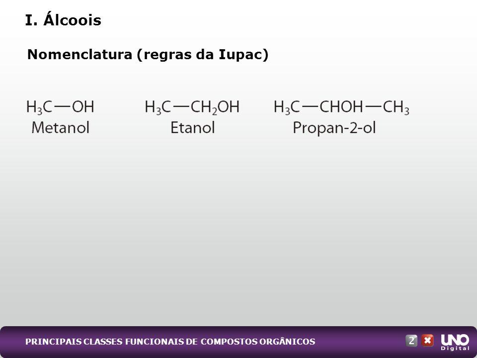 I. Álcoois Nomenclatura (regras da Iupac) PRINCIPAIS CLASSES FUNCIONAIS DE COMPOSTOS ORGÂNICOS