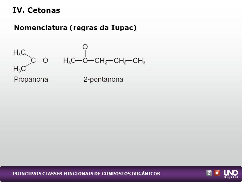 Nomenclatura (regras da Iupac) IV. Cetonas PRINCIPAIS CLASSES FUNCIONAIS DE COMPOSTOS ORGÂNICOS